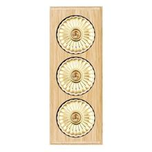 Picture of 3 Gang 20AX 2 Way Toggle Switch - Fluted Dome Light Oak Ovolo Edge/ Polished Brass/ Black Collars