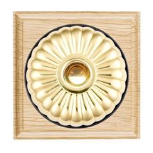 Picture of 1 Gang 240V AC 6A Bell Push - Fluted Dome Light Oak Ovolo Edge/ Polished Brass/ Black Collars