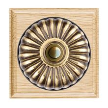 Picture of 1 Gang 240V AC 6A Bell Push - Fluted Dome Light Oak Ovolo Edge/ Antique Brass/ Black Collars