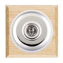 Picture of 1 Gang 20AX 2 Way Toggle Switch - Plain Dome Light OaK Chamfered Edge/Bright Chrome/ White Collars