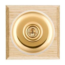 Picture of 1 Gang 20AX 2 Way Toggle Switch - Plain Dome Light OaK Chamfered Edge/ Polished Brass/ White Collars