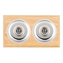 Picture of 2 Gang 20AX 2 Way Toggle Switch - Plain Dome Light OaK Chamfered Edge/Bright Chrome/ White Collars