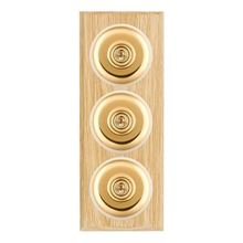 Picture of 3 Gang 20AX 2 Way Toggle Switch - Plain Dome Light OaK Chamfered Edge/Polished Brass/ White Collars