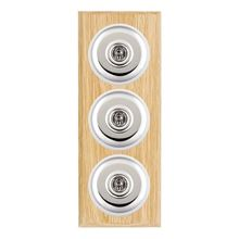 Picture of 3 Gang 20AX 2 Way Toggle Switch - Plain Dome Light OaK Chamfered Edge/Bright Chrome/ White Collars
