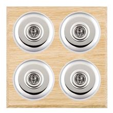 Picture of 4 Gang 20AX 2 Way Toggle Switch - Plain Dome Light OaK Chamfered Edge/ Bright Chrome/ White Collars