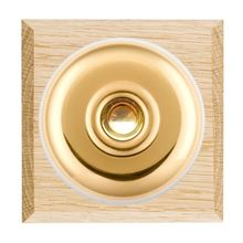 Picture of 1 Gang 240V AC 6A Bell Push - Plain Dome Light OaK Chamfered Edge/ Polished Brass / White Collars