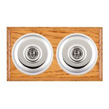 Picture of 2 Gang 20AX 2 Way Toggle Switch - Plain Dome Medium Oak Ovolo Edge/ Bright Chrome/ White Collars