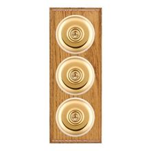 Picture of 3 Gang 20AX 2 Way Toggle Switch - Plain Dome Medium Oak Ovolo Edge/ Polished Brass/ White Collars