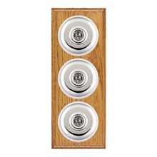 Picture of 3 Gang 20AX 2 Way Toggle Switch - Plain Dome Medium Oak Ovolo Edge/ Bright Chrome/ White Collars