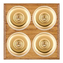 Picture of 4 Gang 20AX 2 Way Toggle Switch - Plain Dome Medium Oak Ovolo Edge/ Polished Brass/ White Collars