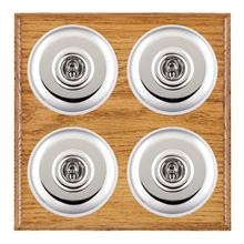 Picture of 4 Gang 20AX 2 Way Toggle Switch - Plain Dome Medium Oak Ovolo Edge/ Bright Chrome/ White Collars