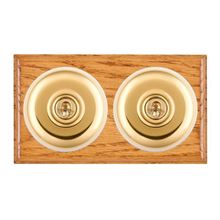 Picture of 2 Gang 20AX Intermediate Toggle Switch - Plain Dome Medium Oak Ovolo Edge/ Polished Brass/ White Collars