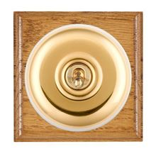 Picture of 1 Gang 20AX Double Pole Toggle Switch - Plain Dome Medium Oak Ovolo Edge/ Polished Brass/ White Collars