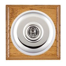 Picture of 1 Gang 20AX Double Pole Toggle Switch - Plain Dome Medium Oak Ovolo Edge/ Bright Chrome/ White Collars