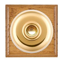 Picture of 1 Gang 240V AC 6A Bell Push - Plain Dome Medium Oak Ovolo Edge/ Polished Brass/ White Collars