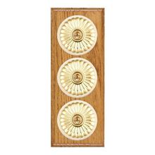 Picture of 3 Gang 20AX 2 Way Toggle Switch - Fluted Dome Medium Oak Ovolo Edge/ Polished Brass/ White Collars