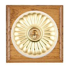 Picture of 1 Gang 20AX Double Pole Toggle Switch - Fluted Dome Medium Oak Ovolo Edge/ Polished Brass/ White Collars