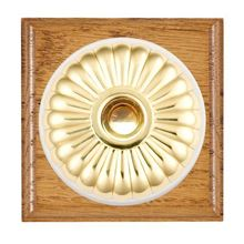 Picture of 1 Gang 240V AC 6A Bell Push - Fluted Dome Medium Oak Ovolo Edge/ Polished Brass/ White Collars