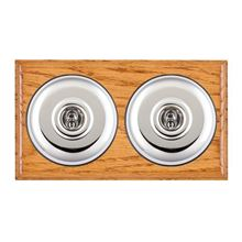 Picture of 2 Gang 20AX 2 Way Toggle Switch - Plain Dome Medium Oak Ovolo Edge/ Bright Chrome/ Black Collars