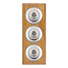 Picture of 3 Gang 20AX 2 Way Toggle Switch - Plain Dome Medium Oak Ovolo Edge/ Bright Chrome/ Black Collars