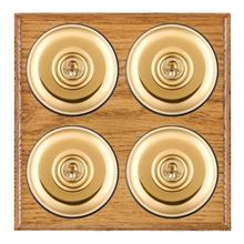 Picture of 4 Gang 20AX 2 Way Toggle Switch - Plain Dome Medium Oak Ovolo Edge/ Polished Brass/ Black Collars