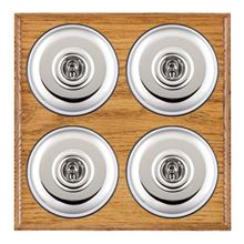 Picture of 4 Gang 20AX 2 Way Toggle Switch - Plain Dome Medium Oak Ovolo Edge/ Bright Chrome/ Black Collars
