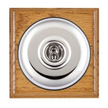 Picture of 1 Gang 20AX Double Pole Toggle Switch - Plain Dome Medium Oak Ovolo Edge/ Bright Chrome/ Black Collars