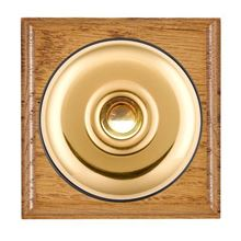 Picture of 1 Gang 240V AC 6A Bell Push - Plain Dome Medium Oak Ovolo Edge/ Polished Brass/ Black Collars