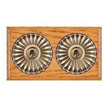 Picture of 2 Gang 20AX 2 Way Toggle Switch - Fluted Dome Medium Oak Ovolo Edge/ Antique Brass/ Black Collars