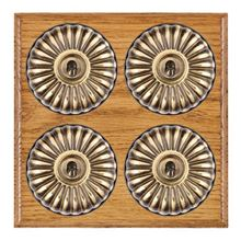 Picture of 4 Gang 20AX 2 Way Toggle Switch - Fluted Dome Medium Oak Ovolo Edge/ Antique Brass/ Black Collars