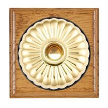 Picture of 1 Gang 240V AC 6A Bell Push - Fluted Dome Medium Oak Ovolo Edge/ Polished Brass/ Black Collars