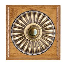 Picture of 1 Gang 240V AC 6A Bell Push - Fluted Dome Medium Oak Ovolo Edge/ Antique Brass/ Black Collars