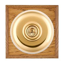 Picture of 1 Gang 20AX 2 Way Toggle Switch - Plain Dome Medium Oak Chamfered Edge/ Polished Brass/ White Collars