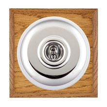 Picture of 1 Gang 20AX 2 Way Toggle Switch - Plain Dome Medium Oak Chamfered Edge/ Bright Chrome/ White Collars