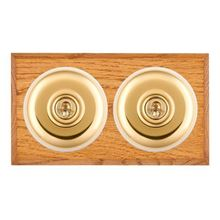 Picture of 2 Gang 20AX 2 Way Toggle Switch - Plain Dome Medium Oak Chamfered Edge/ Polished Brass/ White Collars