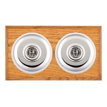 Picture of 2 Gang 20AX 2 Way Toggle Switch - Plain Dome Medium Oak Chamfered Edge/ Bright Chrome/ White Collars