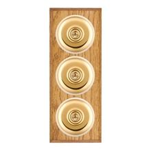 Picture of 3 Gang 20AX 2 Way Toggle Switch - Plain Dome Medium Oak Chamfered Edge/ Polished Brass/ White Collars