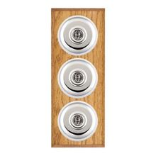 Picture of 3 Gang 20AX 2 Way Toggle Switch - Plain Dome Medium Oak Chamfered Edge/ Bright Chrome/ White Collars