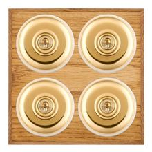Picture of 4 Gang 20AX 2 Way Toggle Switch - Plain Dome Medium Oak Chamfered Edge/ Polished Brass/ White Collars