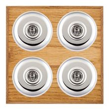 Picture of 4 Gang 20AX 2 Way Toggle Switch - Plain Dome Medium Oak Chamfered Edge/ Bright Chrome/ White Collar