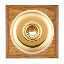 Picture of 1 Gang 240V AC 6A Bell Push - Plain Dome Medium Oak Chamfered Edge/ Polished Brass/ White Collars