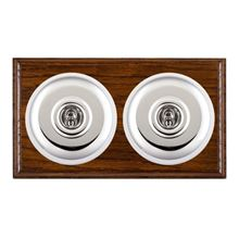 Picture of 2 Gang 20AX 2 Way Toggle Switch - Plain Dome Dark Oak Ovolo Edge/ Bright Chrome/ White Collars