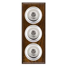 Picture of 3 Gang 20AX 2 Way Toggle Switch - Plain Dome Dark Oak Ovolo Edge/ Bright Chrome/ White Collars
