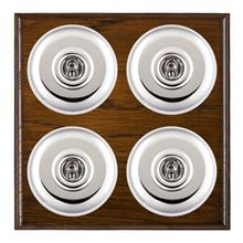 Picture of 4 Gang 20AX 2 Way Toggle Switch - Plain Dome Dark Oak Ovolo Edge/ Bright Chrome/ White Collars