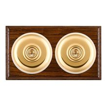 Picture of 2 Gang 20AX Intermediate Toggle Switch - Plain Dome Dark Oak Ovolo Edge/ Polished Brass/ White Collars