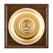 Picture of 1 Gang 20AX Double Pole Toggle Switch - Plain Dome Dark Oak Ovolo Edge/ Polished Brass/ White Collars