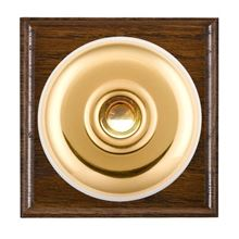 Picture of 1 Gang 240V AC 6A Bell Push - Plain Dome Dark Oak Ovolo Edge/ Polished Brass/ White Collars