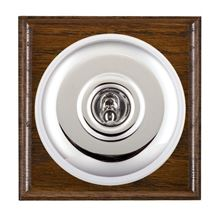 Picture of 1 Gang 240V AC 6A Bell Push - Plain Dome Dark Oak Ovolo Edge/ Bright Chrome/ White Collars
