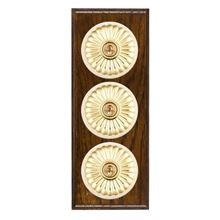 Picture of 3 Gang 20AX 2 Way Toggle Switch - Fluted Dome Dark Oak Ovolo Edge/ Polished Brass/ White Collars