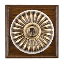 Picture of 1 Gang 20AX Double Pole Toggle Switch - Fluted Dome Dark Oak Ovolo Edge/ Antique Brass/ White Collars